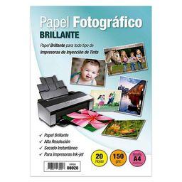 Papel Fotografico Brillante A4 150 Gramos 20 Hojas - Adetec