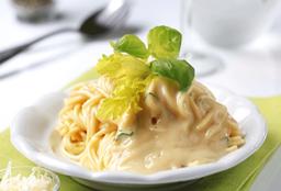 Spaguetti con Crema de Champiñones