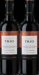 Promo 2x Vino Cab Syrah Cab Franc Trio 750 Cc Botella