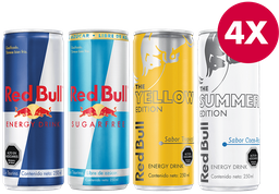 Promo 4x Bebida Energética Red Bull 250 cc Variedades