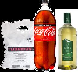 Alto del Carmen 1L + Coca Cola 3L variedades + Hielo 2kg