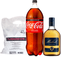 Mistral 1L + Coca Cola 3L variedades + Hielo 2kg