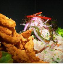 Ceviche de pescado, camarón, jaiba y pulpo