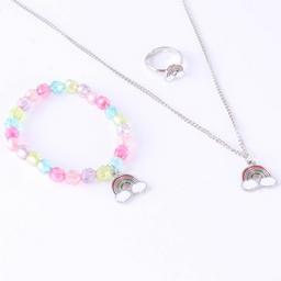 Set de bijou infantil: collar, pulsera y anillos de arcoíris