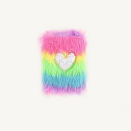 Cuaderno tamaño mediano peludo con corazón inflado glitter