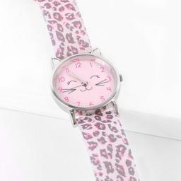 Reloj infantil analógico animal print con carita de gatito