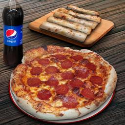 Pizza familiar, un Appetizer, Bebida 1.5 L