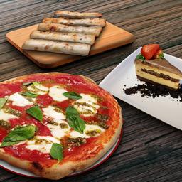 Pizza familiar, Appetizer y Postre