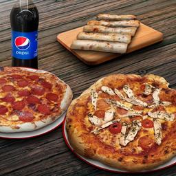 Pizza Familiar,  Pizza Mediana, Appetizer y Bebida 1.5 L