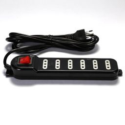 Alargador Zapatilla con Switch 6 Posiciones 3mts Negro