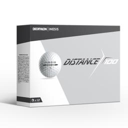 DISTANCE 100 GOLF BALL X12 WHITE