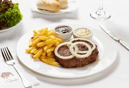 Hamburguesa BBQ y papas fritas
