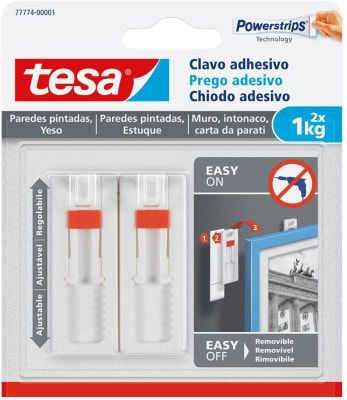 Clavos Adhesivos Powerstrips Paredes Pintadas / Yeso  Ajustable