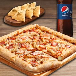 Pizza Familiar Quad, 2 Complemento y Bebida 1.5L.