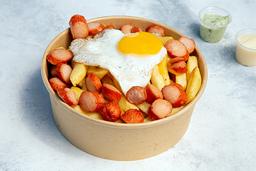 Salchipapas Con Huevo Frito