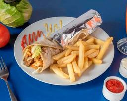 Shawarma mixto, papa frita y bebida