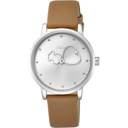 Tous Reloj Bear Time de Acero Con Correa de Piel Marrón