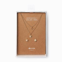 Lounge Set Collar + Aros Trilogía Estrellas Dorados