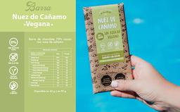 Barra chocolate 70% cacao nuez de cañamo