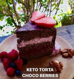 Trozo Keto torta de choco berries - sin azucar - low carb