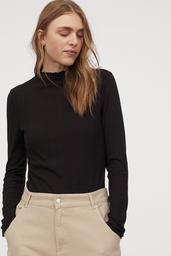H&M Polera Mujer Color Negro Cuello Amplio