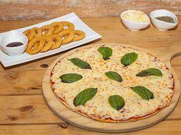 Pizza margarita + aritos de cebolla + bebida 1.5 L