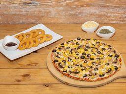 Pizza vegetariana + aritos de cebolla + bebida 1.5 L