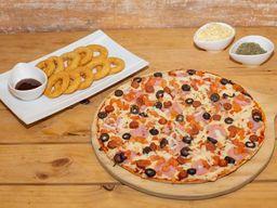 Pizza española + aritos de cebolla  + bebida 1.5 L