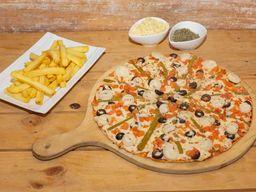 Pizza Familiar del huerto + papas fritas + bebida 1.5 L