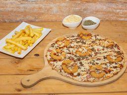 Pizza Familiar Onion bbq+ papas fritas + bebida 1.5 L
