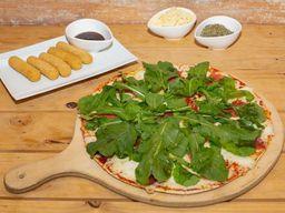 Pizza con rúcula + finger de queso + bebida 1.5 L