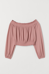 H&M Top Hombros Descubiertos Color Rosa
