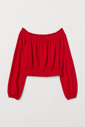 H&M Top Hombros Descubiertos Color Rojo