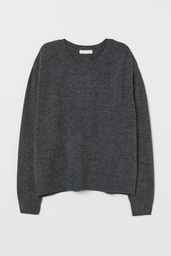 H&M Sweater Liso Color Gris Oscuro