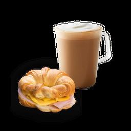 Latte Grande + Croissant Pavo Queso