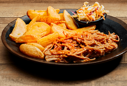 Pulled Pork + Papas fritas rústicas + Coleslaw (50g)