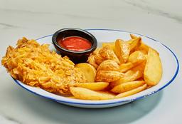 Pollo Crispy con papas fritas y salsas a elección