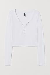 H&M Polera Mujer Cuello en V Color Blanco