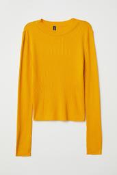 H&M Polera Mujer Cuello Redondo Color Amarillo