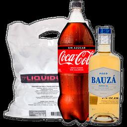 Promo Pisco Bauza 1L + Coca 3L + Hielo de regalo