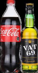Whisky VAT 69 + Coca Normal 1,5 Lts