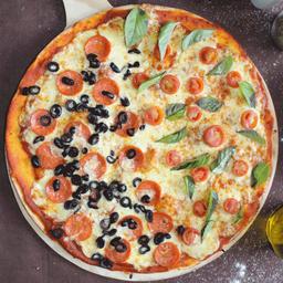 Pizza Margherita mitad Pepperoni