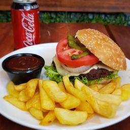 Hamburguesa Cheddar + Papas + Bebida