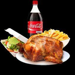 Pollo Entero, con Papas Fritas, Ensalada y Bebida.