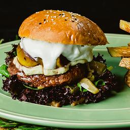 Hamburguesa vegetariana + papas rústicas
