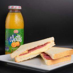 Sándwich Salame Queso y Jugo de Naranja