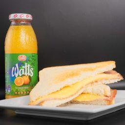 Sándwich Jamón Queso y Jugo de Naranja