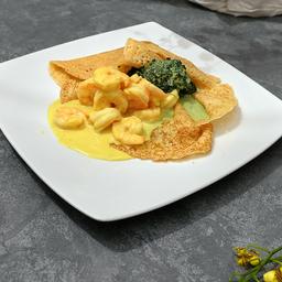 Camarones Curry Espinaca