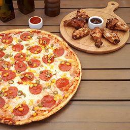 Pizza Familiar, Alitas, Bebida 1.5L