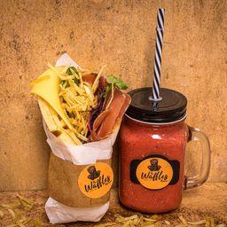 Bacon BBQ Sin Gluten y Smoothie de Frambuesa 300 Cc